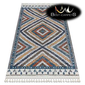 "Amazing Modern Rug ""BELLE"" diamonds ethnic fringe BLUE / CREAM High Quality"