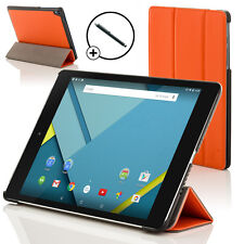 Leather Orange Folding Case Cover for HTC Google Nexus 9 With Stylus