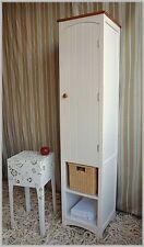 Weißer schmaler Landhaus Badschrank COUNTRY H160 Neu