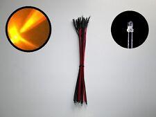 10 HO & N SCALE 3 MM PRE-WIRED LED LIGHT 9V - 12V - 18V DC VOLTS - ORANGE C