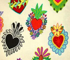 1YD CORAZONES PRIMAVERA Latino Hearts De Leon Designs A Henry Fabric CREAM