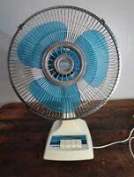 "Vintage Tatung Blue Blade Oscillating Fan 12"" - Tested & Working"