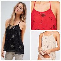 NEW Free People Embellished Star Cami XS S M L Beaded Sequin Racerback Tank Top