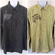 Lot of 2 RVCA Men's Dress Shirts X-Large black & green *flaws see listing A0214