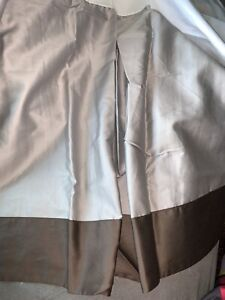 restoration hardware 100%Cotton Gray On Brown Twin bed skirt.Made In ITALY