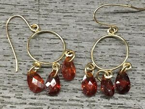 14k Yellow Gold Dangle Red Sparkle Earrings