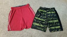 Lot of 2 Boys Under Armour Athletic Shorts Size L Red White Black Green Yellow