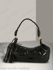 Snakeskin Bag Purse Tassel Bag Genuine Cobra Snake Black 7x13x1.5