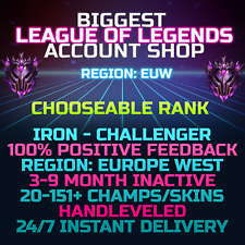 League of Legends Account LOL EUW Smurf Iron to Challenger 30 All Champs BE Skin