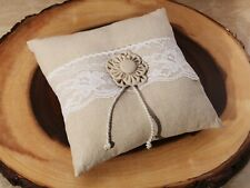 Rustic Collection Burlap and Lace Wedding Ring Cushion With Flower Detail