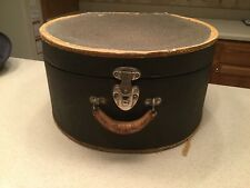Ladies Vintage Hat Box Luggage Box With Metal Lock Sturdy Cardboard Used Black