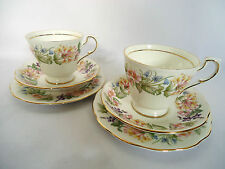 "Pair of Royal Albert Paragon ""Country Lane"" Fine Bone China Cup and Saucer Trios"