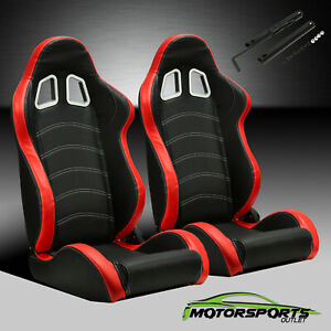2 x Reclinable Black PVC Main Red Side Left&Right Racing Bucket Seats Slider