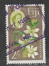 FIJI POSTAGE ISSUE -  USED QE11 DEFINITIVE STAMP 1962 - FLOWERS - WHITE ORCHID