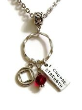 NA I Choose Strength Charm Holder Necklace – 12 Step Narcotics Anonymous - Red