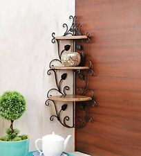 Onlineshoppee Wooden & Iron Corner Rack Home Decor Corner Shelves