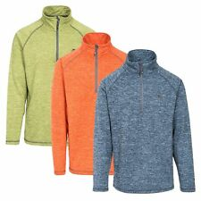 Trespass Bungy Mens 1/2 Zip Pull Over Fleece Jumper In Orange Green & Grey
