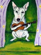 bull terrier dog art Print poster modern folk 13x19 Jschmetz guitar