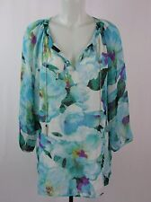 Calvin Klein Floral Print Long Sleeve Blouse Shirt Size XL LK850