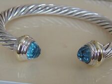 $775 DAVID YURMAN 14K GOLD,SS BLUE TOPAZ CLASSIC BRACELET 7mm. LARGE