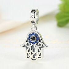 925 Sterling Silver Hamsa Hand Lucky Evil Eye Charm Beads fit Bracelet/Necklace