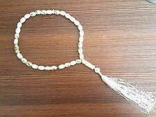 US SELLER WHITE & GOLD Islamic Muslim 33 Prayer Beads Tasbih Tasbeeh Zikr Misbah