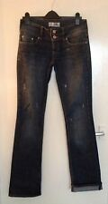 Zara Dark Blue Straight Leg Jeans With Turn Up Hem. Size 12