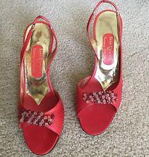 Rene Caovilla Serena D'Italia Red Beaded Slingback Leather Sandals Made Italy 8