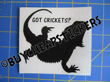 Bearded Dragon Got Crickets? Vinyl Decal - Sticker 4x4 - Any Color