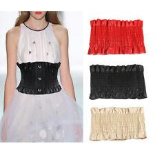 PU Wide Waist Band Cincher Waspie Underbust Corset Belt Womens Dress Decor