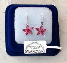 Sw7 Fiori Pendenti Orecchini Donna Pl. Oro Bianco 18k cristalli Swarovski Rosa