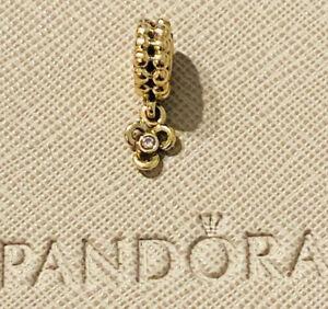 Genuine Pandora 14ct 14k Gold & Diamond Trinity Pendant Charm 750407D