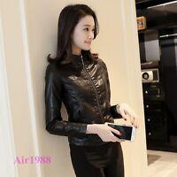 Fashion Women's Pu Leather Short Motor Biker Jacker Slim Fit Casual jacket Size
