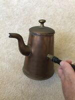 ANTIQUE COPPER  WITH WOOD HANDLE COFFEE TEA SERVER KETTLE POT