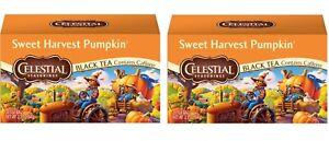 2 Boxes Celestial Seasonings Sweet Harvest Pumpkin Black Tea 20 Bags BB 8/27/22