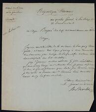 Général La BAROLIERE autographe 1800 / PORT-BRIEUC