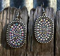 925 Silver Multicolor Gemstone Ear Hook Dangle Drop Oval Cut Women Earrings Gift