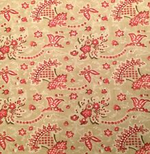 DESIGNERS GUILD Antony red tan  printed cotton washable remnant new