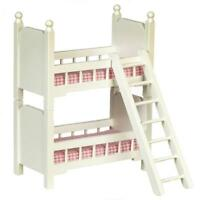 Dolls House Small White Wooden Bunk Beds 1:12 Bedroom Furniture Bunkbeds
