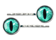 Bright Green Monster Creature Eyeball Silver Plated Glass Hair Clip Barrette Set