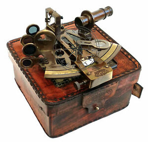 Marine Victorian Antique SEXTANT Travelling Brass With Glass Top Leather Case