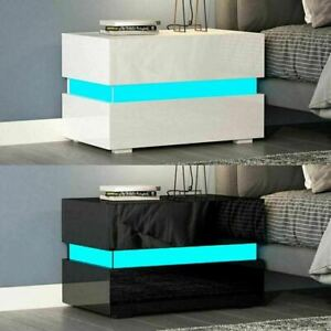 Modern High Gloss with 2 Drawers Bedside Table Cabinet Nightstand RGB LED Lamp