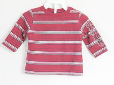CALVIN KLEIN JEANS Boys Size 6-9 Months Red Striped Long Sleeve Shirt