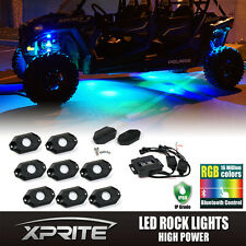 Xprite 8PC RGB LED Multi-Color Offroad Rock Lights Wireless Bluetooth Truck Jeep