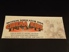 "TIMES SQUARE New York City ""CINEMA RIDE IN 3-D"" Ticket Stub 1990's NYC  souvenir"