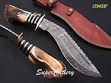 """16"""" Hand Forged Damascus steel kukri Knife  brass Bolster stag horn crow Handle"""