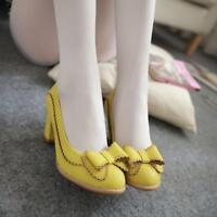 Cute Ladies Womens Oxford Pumps Shoes Womens Bowknot Block heel Party Shoes NEW