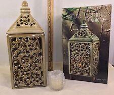 Natural Ceramic Lantern Pierced Lattice Design W/Votive Candle By Endless Light