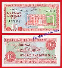 BURUNDI 10 Francs francos 1970 Pick 20b  SC / UNC