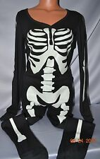 Victorias Secret Pink Glow Dark Skeleton Long Jane Thermal Romper  Pajamas NWT S